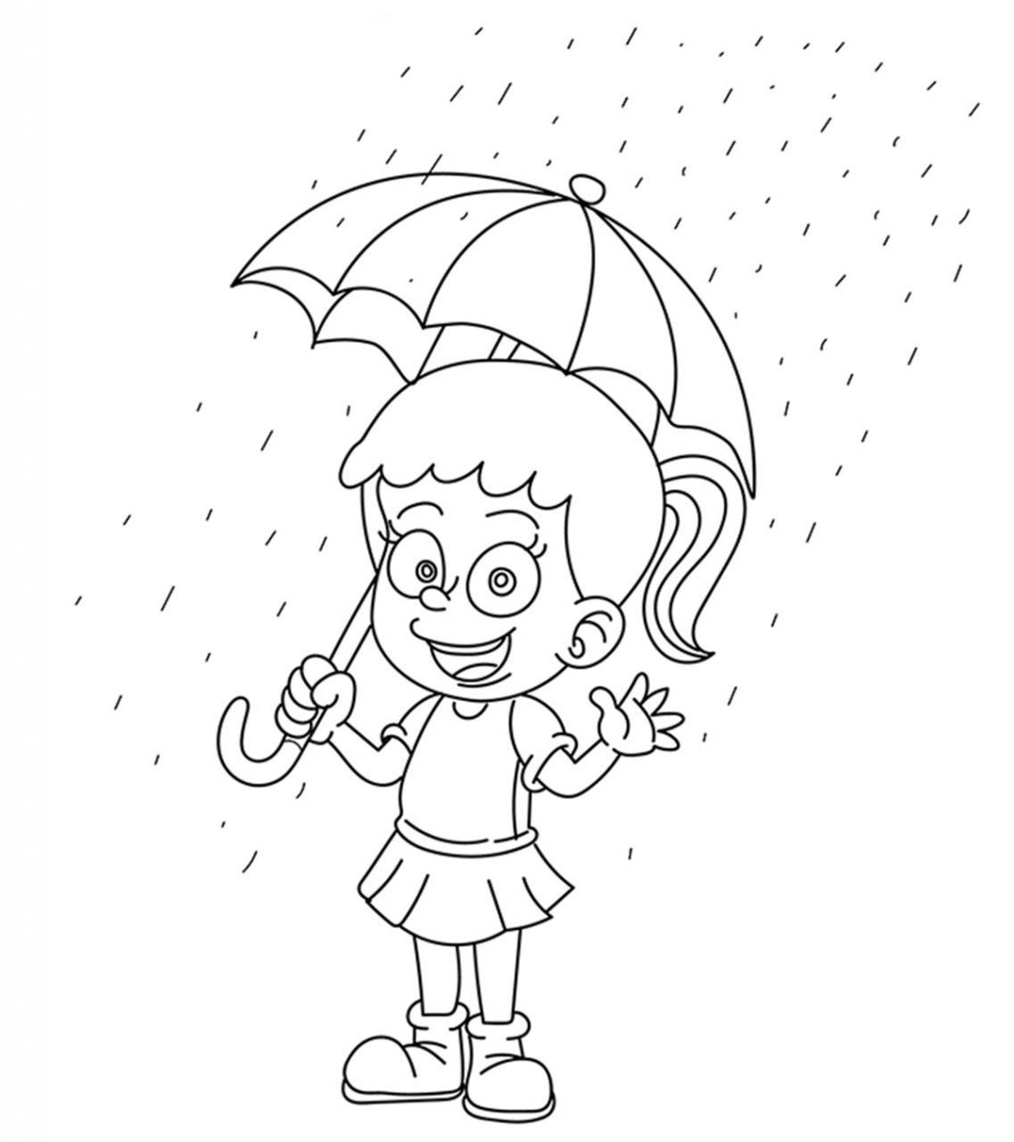 Tổng hợp các bức tranh tô màu trời mưa đẹp nhất dành tặng cho bé