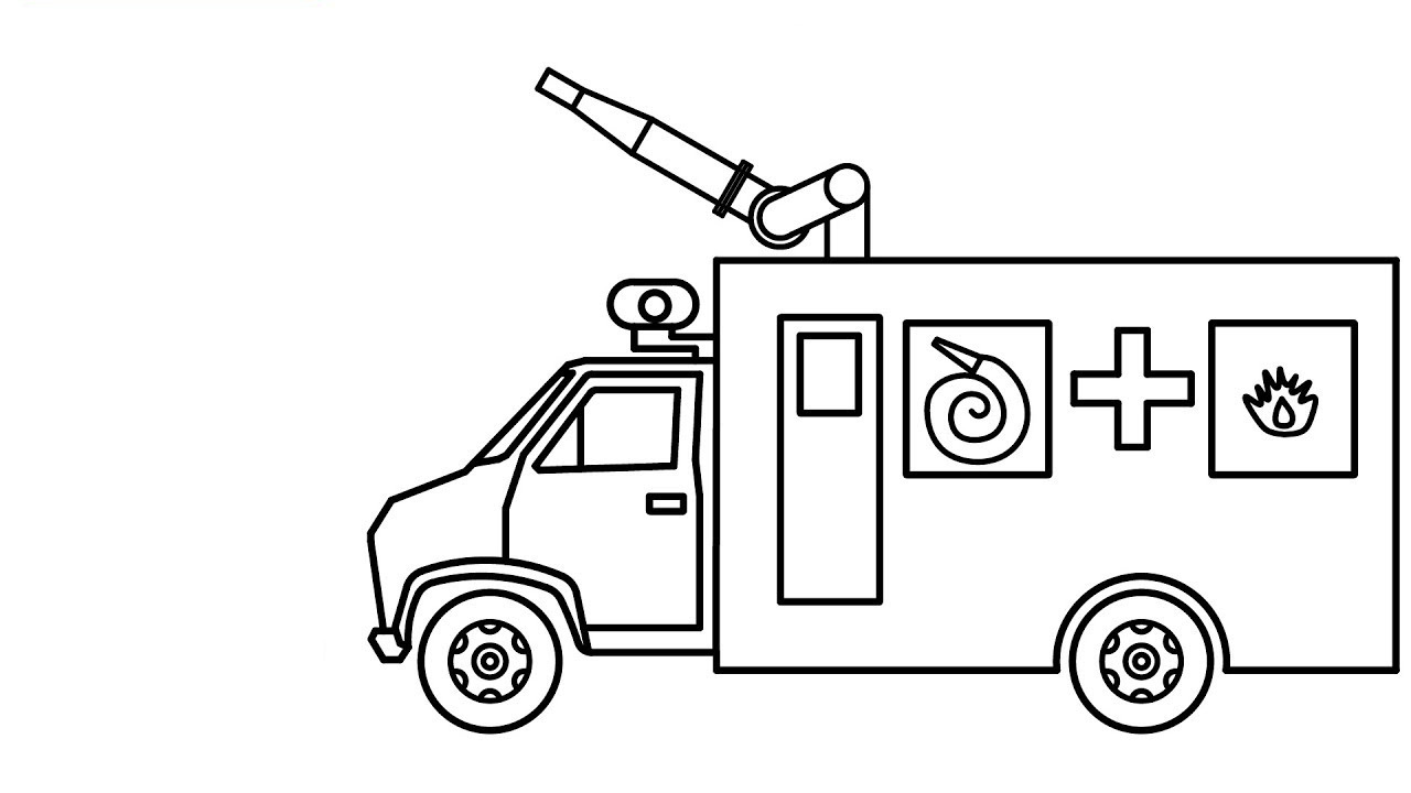 Tổng hợp các bức tranh tô màu xe cứu hỏa