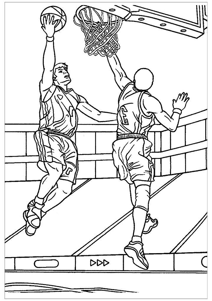 2 cầu thủ bóng rổ thi đấu