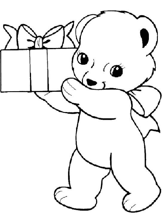 chú gấu bông bưng hộp quà