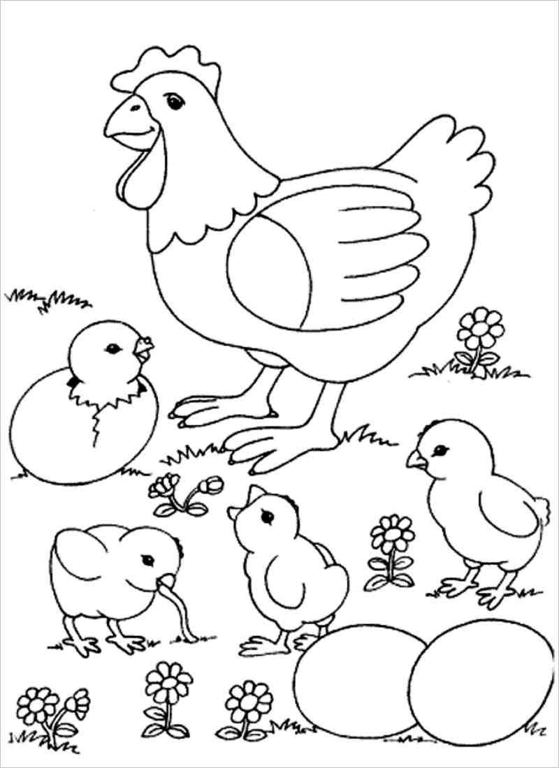 Tranh tô màu con gà đẹp nhất cho bé